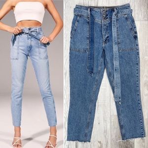Abercrombie & Fitch High Rise Mom Jean With Waist Belt